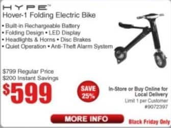 Frys Black Friday: Hype Hover-1 Folding Electric Bike for $599.00