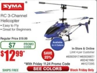 Frys Black Friday: Syma RC 3-Channel Helicopter for $12.99