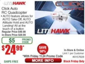 Frys Black Friday: LiteHawk Click Auto RC Quadcopter for $24.99