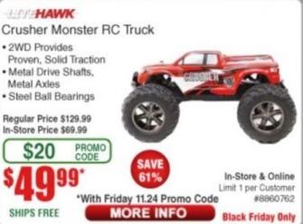 Frys Black Friday: LiteHawk Crusher Monster RC Truck for $49.99