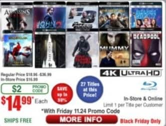 Frys Black Friday: Select 4K Ultra HD Blu-Rays: Deadpool, John Wick 2, Spiderman: Homecoming, The Mummy & More for $14.99
