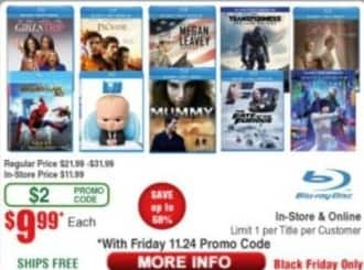 Frys Black Friday: Select Blu-Rays: Boss Baby, The Mummy, The Fate of the Furious, Girls Trip, Spiderman: Homecoming & More for $9.99