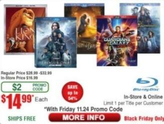 Frys Black Friday: Select Blu-Rays: The Lion King, Guardians of the Galaxy Volume 2, Rogue One: A Star Wars Story & More for $14.99