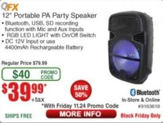 """Frys Black Friday: QFX 12"""" Portable PA Party Speaker for $39.99"""