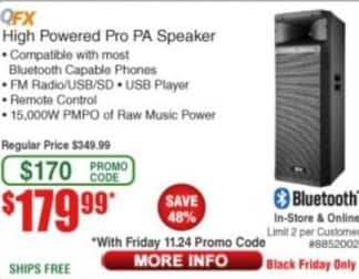 Frys Black Friday: QFX High Powered Pro PA Speaker for $179.99