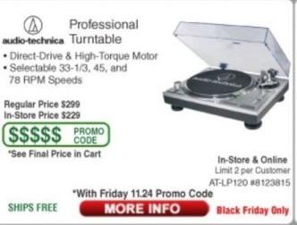 Frys Black Friday: Audio-Technica Professional Turntable - TBA