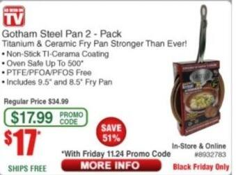 Frys Black Friday: Gotham Steel Pan 2-Pack for $17.00