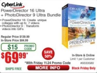 Frys Black Friday: CyberLink PowerDirector 16 Ultra + PhotoDirector 9 Ultra Bundle for $69.99