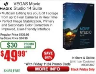 Frys Black Friday: Magix Vegas Movie Studio 14 Suite for $49.99