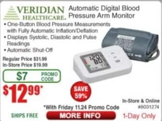 Frys Black Friday: Veridian Healthcare Automatic Digital Blood Pressure Arm Monitor for $12.99