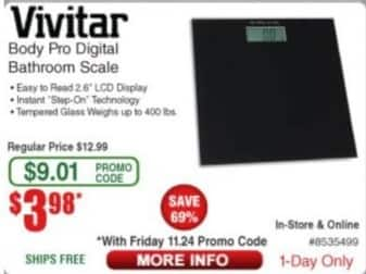 Frys Black Friday: Vivitar Body Pro Digital Bathroom Scale for $3.98