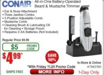 Frys Black Friday: Conair All-in-One Battery Operated Beard and Mustache Trimmer for $4.99
