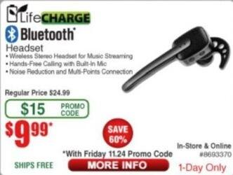 Frys Black Friday: LifeCharge Bluetooth Headset for $9.99