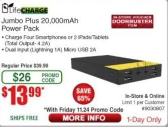 Frys Black Friday: LifeCharge Jumbo Plus 20,000mAh Power Pack for $13.99