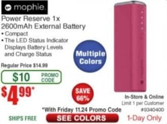 Frys Black Friday: Mophie Power Reserve 1x 2600mAh External Battery for $4.99