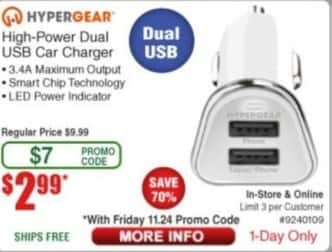 Frys Black Friday: HyperGear High-Power Dual USB Car Charger for $2.99