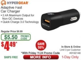Frys Black Friday: HyperGear Adaptive Fast Car Charger for $4.49