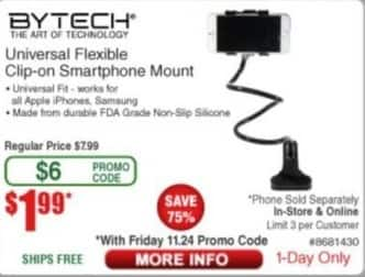 Frys Black Friday: Bytech Universal Flexible Clip-On Smartphone Mount for $1.99