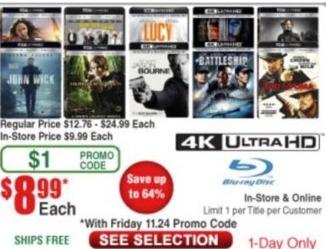 Frys Black Friday: Select 4K Ultra HD Blu-Rays: John Wick, Lucy, Battleship, Jason Bourne & More for $8.99