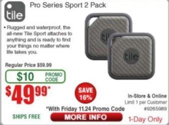 Frys Black Friday: Tile Pro Series Sport 2 Pack for $49.99