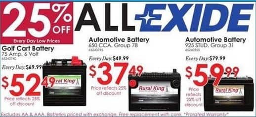 Rural King Black Friday: Exide 650 CCA Group 78 Automotive Battery for $37.49