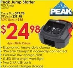 Rural King Black Friday: Peak 700 Amp Jump Starter for $24.98 after $15 rebate