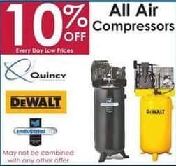 Rural King Black Friday: All Air Compressors: DeWalt, Quincy, Industrial Air & More - 10% Off