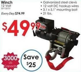 Rural King Black Friday: 3000-lb Capacity 12 Volt Winch for $49.99