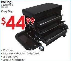 Rural King Black Friday: Rolling Seat w/ 3 Drawers for $44.99