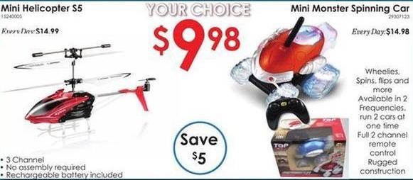 Rural King Black Friday: Mini Helicopter or Mini Monster Spinning Car for $9.98