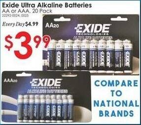 Rural King Black Friday: Exide Ultra 20-Pack AA or AAA Alkaline Batteries for $3.99