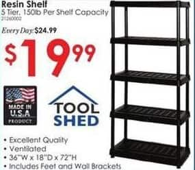 Rural King Black Friday: Tool Shed 5 Tier Resin Shelf for $19.99