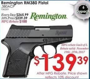 Rural King Black Friday: Remington RM380 .380ACP Pistol for $139.39 after $100.00 rebate