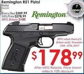 Rural King Black Friday: Remington R51 9mm Pistol for $178.99 after $100 rebate