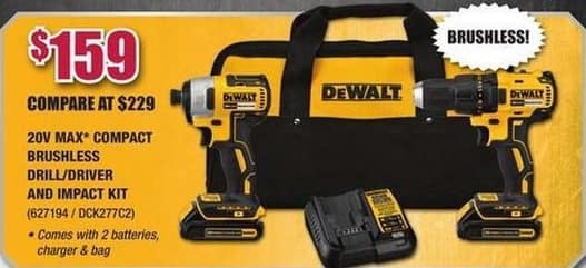 Rural King Black Friday: DeWalt 20V Max Compact Brushless Drill/Driver and Impact Kit for $159.00