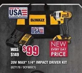 """Rural King Black Friday: DeWalt 20V Max 1/4"""" Impact Driver Kit for $99.00"""