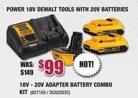 Rural King Black Friday: DeWalt 18V to 20V Adapter Battery Combo Kit for $99.00