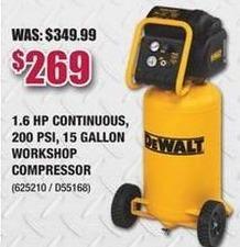 Rural King Black Friday: DeWalt 1.6HP Continuous 200 PSI 15 Gallon Workshop Compressor for $269.00