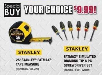Rural King Black Friday: Stanley 25-ft Fatmax Tape Measure or Simulated Diamond Tip 6-pc Screwdriver Set for $9.99