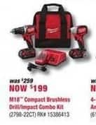 Rural King Black Friday: Milwaukee M18 Compact Brushless Drill/Impact Combo Kit for $199.00