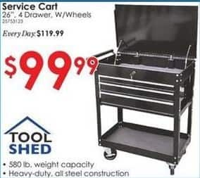 """Rural King Black Friday: Tool Shed 26"""" 4-Drawer Service Cart for $99.99"""