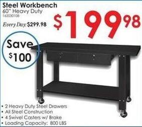 "Rural King Black Friday: 60"" Heavy Duty Steel Workbench for $199.98"