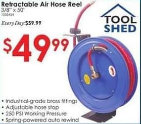 "Rural King Black Friday: Tool Shed 3/8""x50' Retractable Air Hose Reel for $49.99"