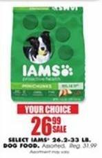 Blains Farm Fleet Black Friday: Iams Dog Food 26.2-33 Pound Bags, Select Varieties for $26.99