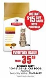 Blains Farm Fleet Black Friday: Select Science Diet Cat Food 13-17.25 Pound Bags + $15 Gift Card for $35.49 - $44.99
