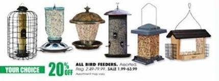 Blains Farm Fleet Black Friday: All Bird Feeders - 20% Off