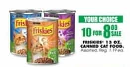 Blains Farm Fleet Black Friday: (10) Friskies Canned Cat Food 13 oz Cans, Select Varieties for $8.00