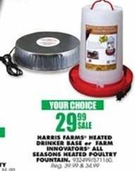 Blains Farm Fleet Black Friday: Harris Farms Heated Drinker Base or Farm Innovators All Seasons Heated Poultry Fountain for $29.99