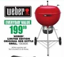 Blains Farm Fleet Black Friday: Weber Limited Edition Original Red Kettle Grill for $199.99