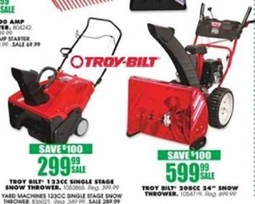 "Blains Farm Fleet Black Friday: Troy Bilt 208CC  24"" Snow Thrower for $599.99"